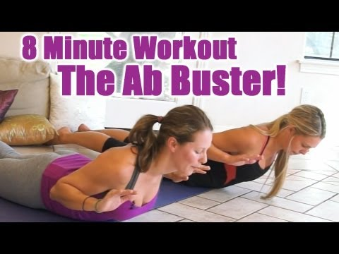 8 Minute Abs Workout, Flat Ab Buster! Home Exercise Routine, Core Strength Fitness Training